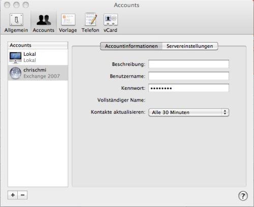 Kontoeinstellungen im Apple Mac OS X Snow Leopard Adressbuch