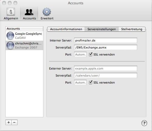 Servereinstellungen in Apple Mac OS X Snow Leopard iCal