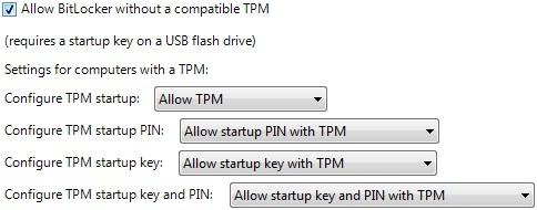 Gruppenrichtlinien-Einstellungen für BitLocker mit TPM und PIN
