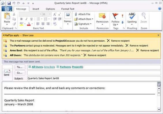 Mailtipps in Outlook 2010