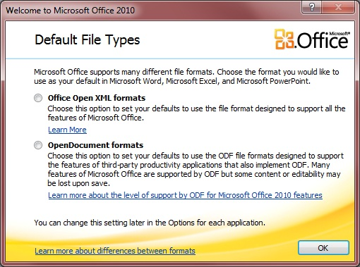 Office 2010 Default File Format Selection Dialog on first Start