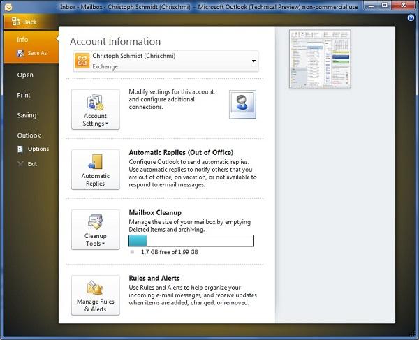Quota-Anzeige im Office-Menu von Outlook 2010