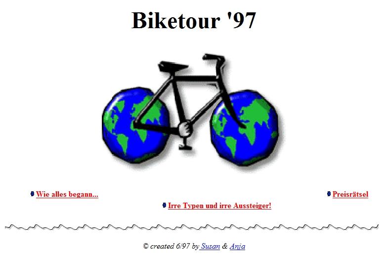 Biketour-Seite auf rz.ba-Karlsruhe.de in den 90ern