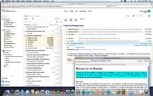 Outlook Web Access 2010 im Apple Safari auf dem Mac