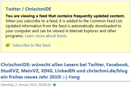 Feed von Twitter im Internet Explorer