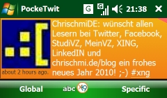 PockeTwit auf meinem Windows Phone