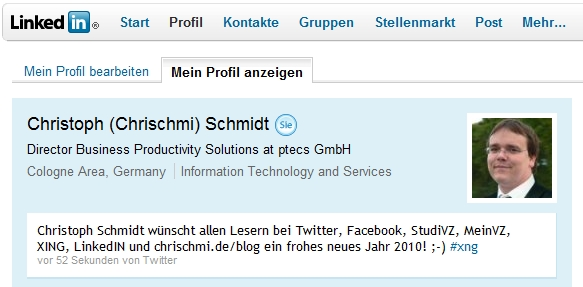 Twitter-Integration mit LinkedIN