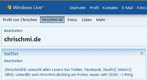 Twitter-Integration mit Windows Live Spaces