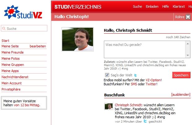 Twitter-Integration mit StudiVZ