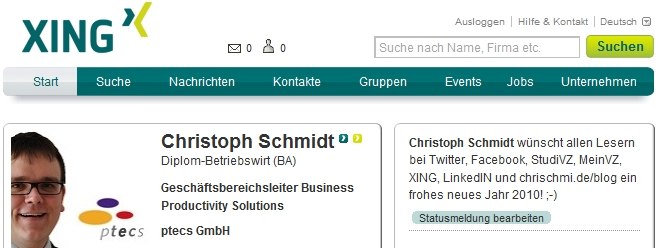 Twitter-Integration mit XING